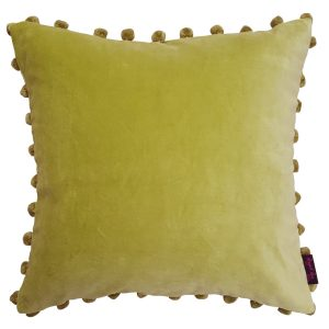Green Velvet Pom Pom Cushion