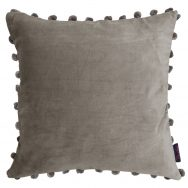 grey Velvet Pom Pom Cushion