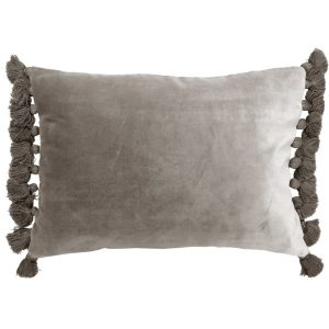 Terry Tassel Silver Velvet Cushion