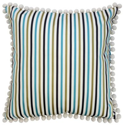 Teal Blue Satin Stripe Cushion