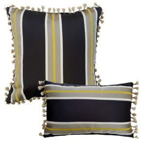 grey gold block stripe cushion