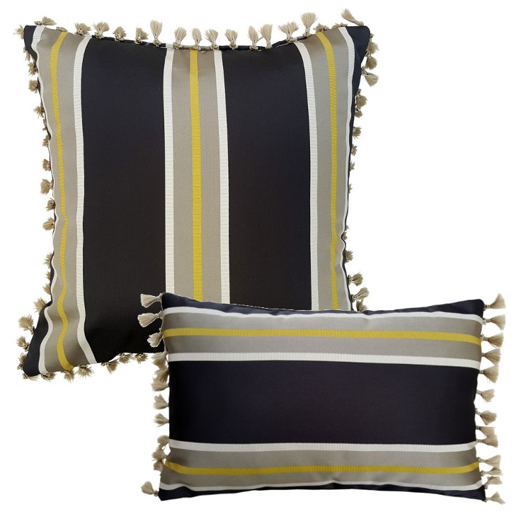 striped cushion in gold