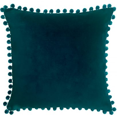Arabella petrol blue velvet pom pom cushion