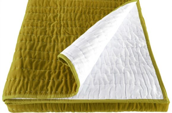 Opal Kiwi Lime Green Hand Quilted Velvet Bedspread