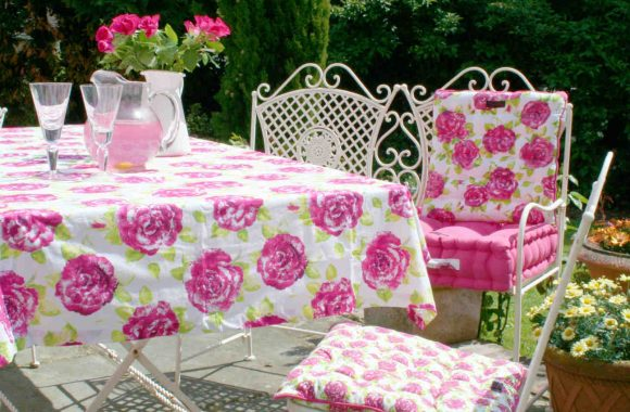 pink floral patio ragged rose