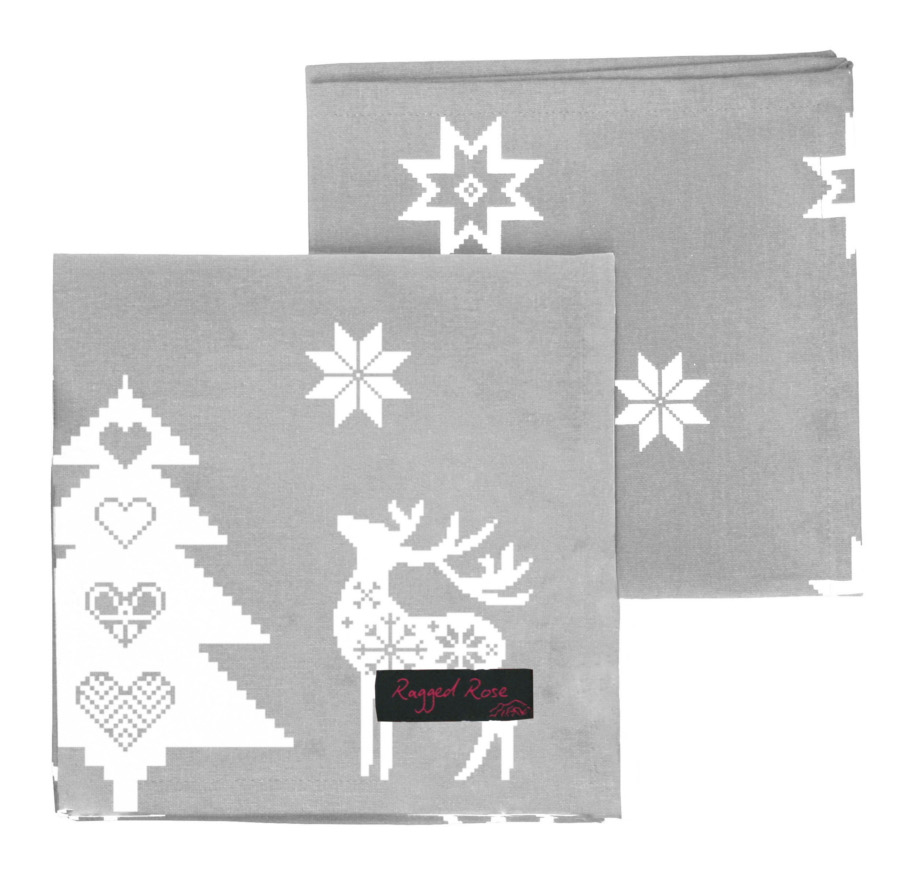Silver Grey Christmas Star Napkins