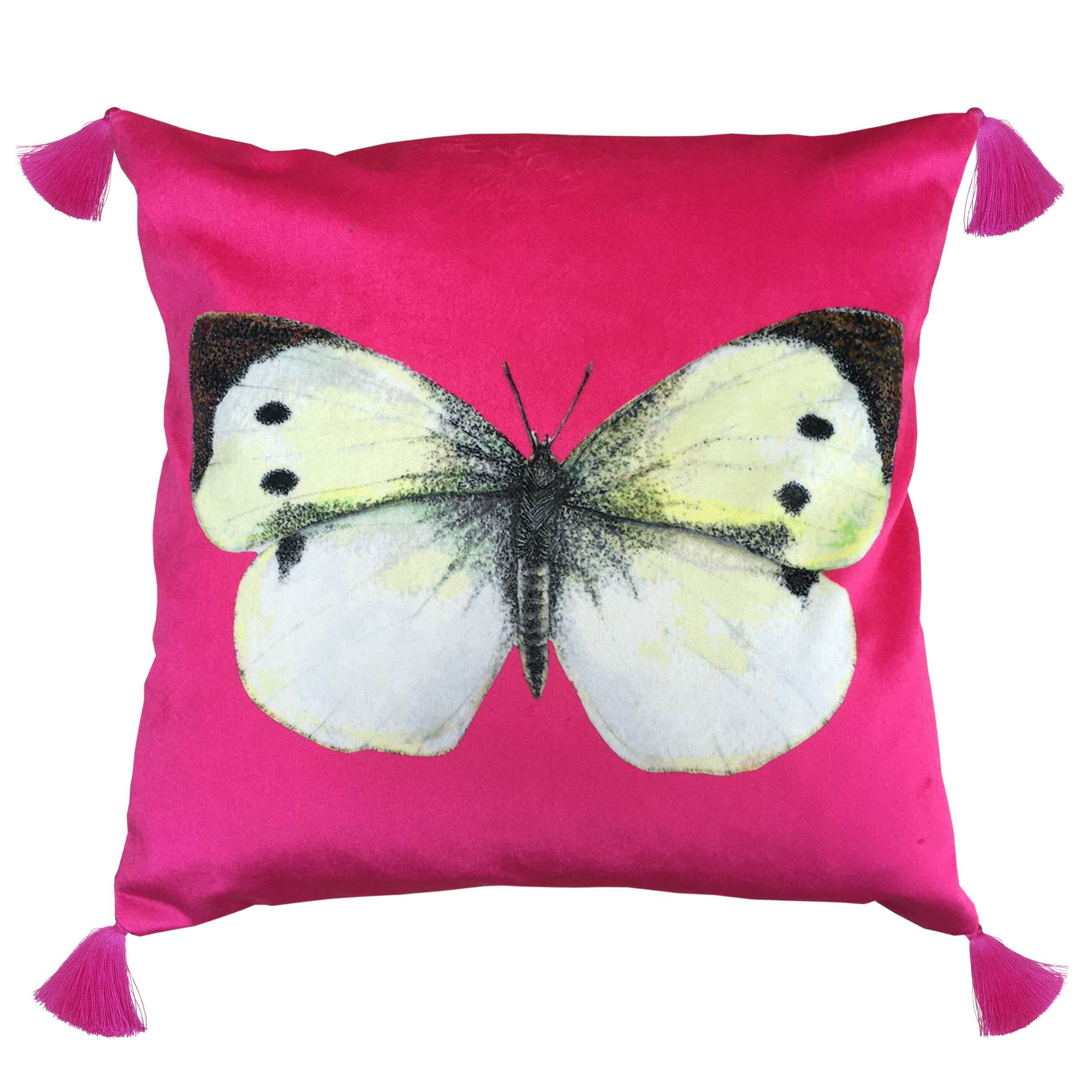 pink butterfly velvet cushion