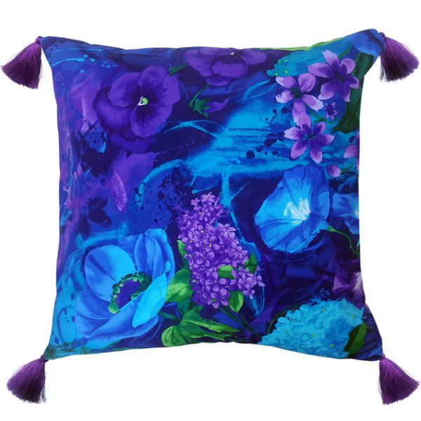 Purple Pansy Print Tassel Cushion