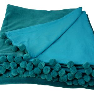 teal blue velvet throw