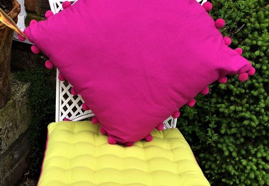 magenta bobby and lime paddy on chair