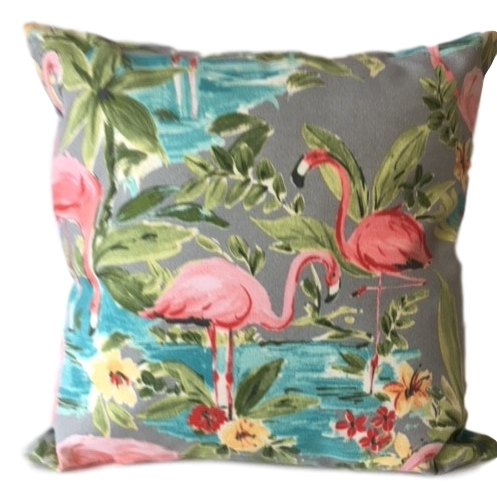 Showerproof flamingos garden cushions