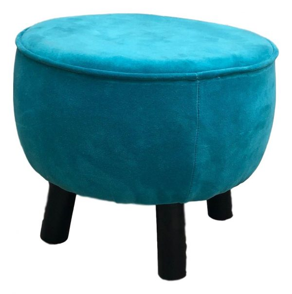Teal Velvet Foot Stool