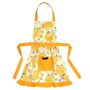 girls frilly apron gold