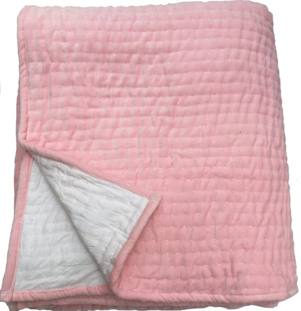 Opal Hand Quilted Shell Pink Velvet Bedspread