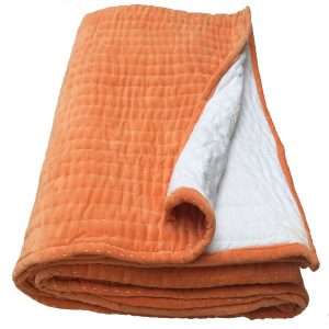 Opal Hand Quited Orange Velvet Bedspread