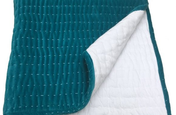 Opal Teal Hand Quilted Bedsheet 2