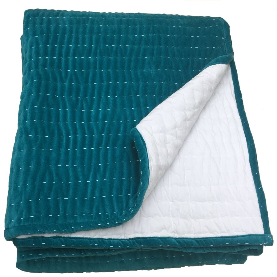 Opal Hand Quilted Teal Velvet Bedspread By Ragged Rose