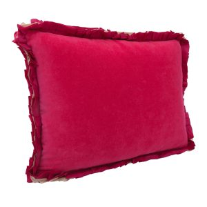 Ribbon Fuchsia Pink Velvet Cushion