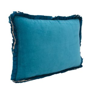 Ribbon teal Velvet Cushion