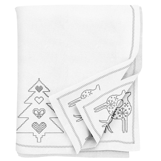 Tessa Embroidered silver Christmas Tablecloth