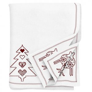Tessa Embroidered Christmas Red Tablecloth