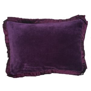 Ribbon Aubergine Velvet Cushion
