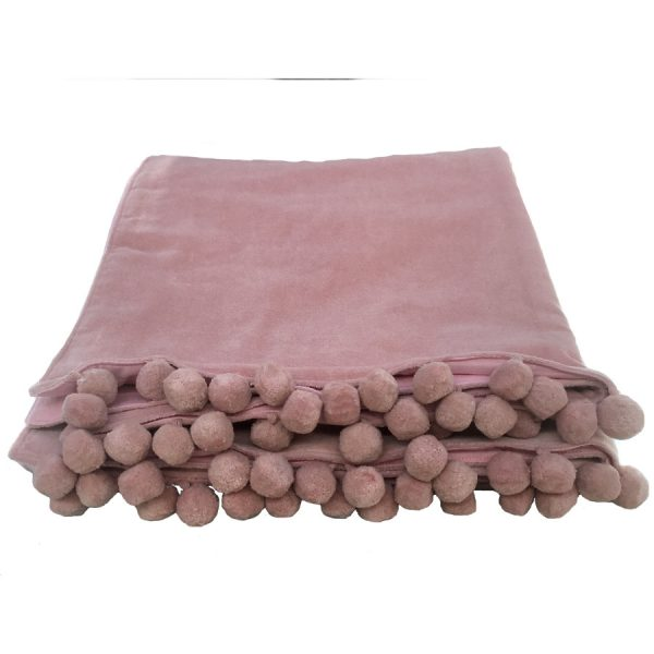 blush pink velvet throw