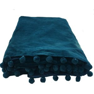 Petrol Blue Velvet Throw