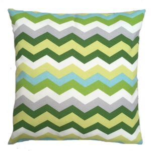 Showerproof Green Zig Zag Garden Cushion