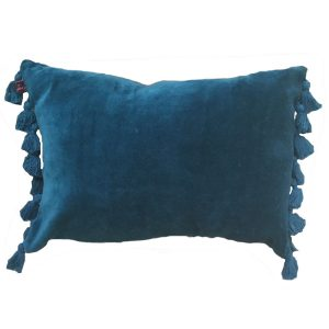 petrol blue velvet tassel cushion