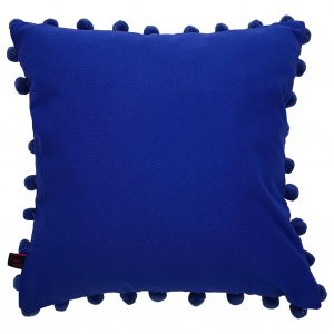 Cobalt Blue Scatter Cushion With Pom Pom Trim